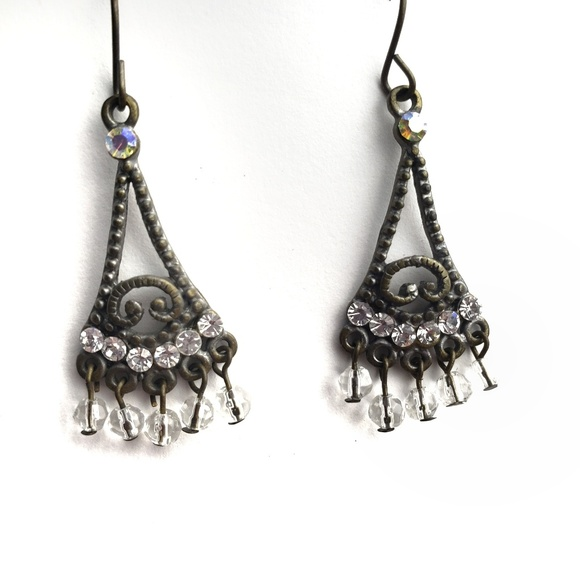Vintage Jewelry - Vintage brass beaded chandelier dangle earings